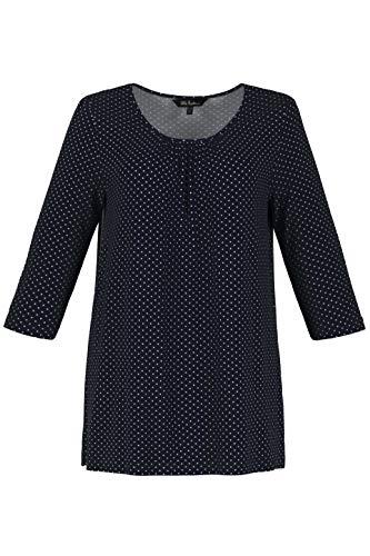 Ulla Popken Damen T-Shirt Pünktchen-Print, A-Line, Große Größen, Blau (Dunkelblau 70), (Herstellergröße: 46+)