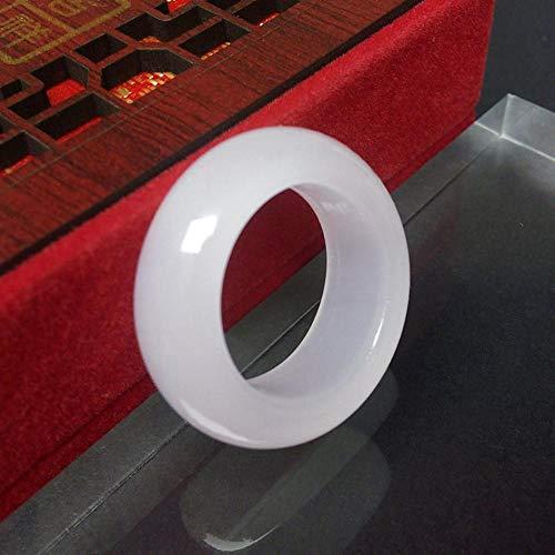 Myzixuan Natürliche weiße Jade Ring weiße Jade Ring weiße Finger Jade Ringe Männer und Frauen Geschenke