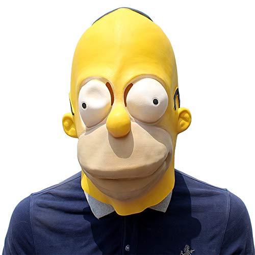 BaronHong Cosplay Maske Latex Helm Dekoration Thema Party Requisiten Halloween Kostüm Zubehör Erwachsene für Simpson (gelb, M) (Simpsons Kostüm Für Erwachsene)