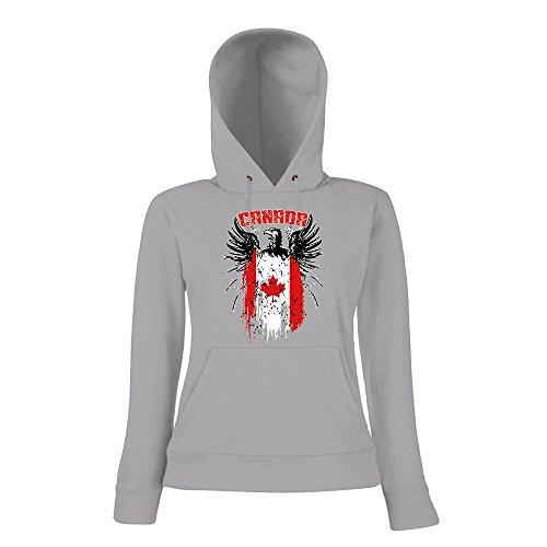 Canada Adler #2 Premium Hoodie | Kanada | Flagge | Weisskopfseeadler | Frauen | Kapuzenpullover, Farbe:Graumeliert;Größe:M (2 Weißkopfseeadler)