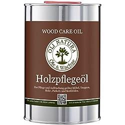 OLI-NATURA Holz-Pflegeöl für innen (geeignet für Möbel, Treppe, Parkett und Holz-Boden), 1 Liter, Farblos/natur