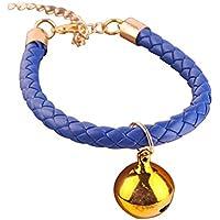 Happy-little-bear Collar de Gato de la joyería del Collar del Gato del Cuero de la PU con Las Campanas para el Animal doméstico (Azul XS)