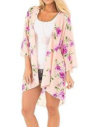 Runant Cover Up para Mujer Kimono Mujer Bohemia Floral Gassan Cardigan Tops mantón del Kimono