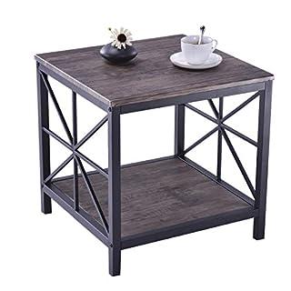 Aingoo X-Design Industrial Sofa Beistelltisch Holz Side Night Stand Tabelle mit Metallrahmen und Lagerregal Brown