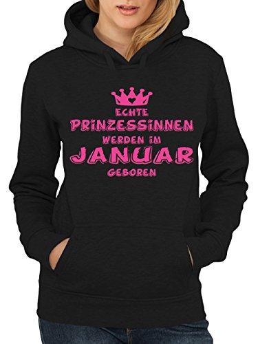 clothinx Damen Kapuzenpullover Prinzessinnen werden im Januar geboren Schwarz Gr. M