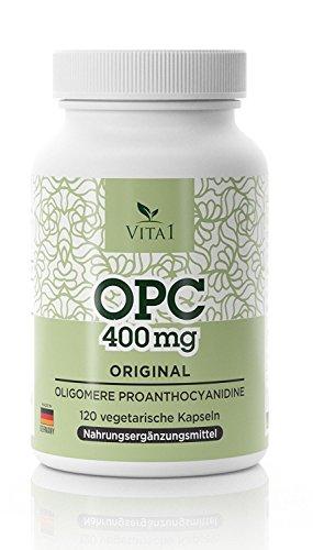 OPC Traubenkernextrakt Kapseln - hochdosiert 400 mg • 120 Kapseln • Vegetarisch Glutenfrei Sojafrei ohne Konservierungsmittel • Hergestellt in Deutschland