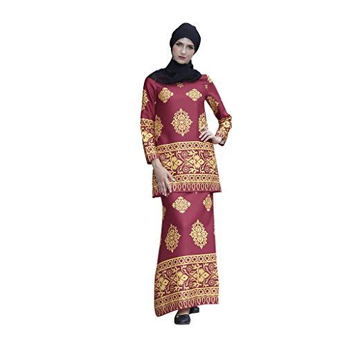 QHJ Damen Kleid Muslim Kleid Elegant Langes Abendkleid Damen Aus Ethnischem Moslemischem Arabischem Ethno Print, Bronziert, Zweiteilig (Rot,M)