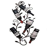 LXYPLM-WR1 Botelleros Estante Vino Portaequipajes de Pared con Soporte for Botellas de Metal for 5 Botellas de su Vino Favorito, Cocina Elegante, Restaurante, Bar o Bodega