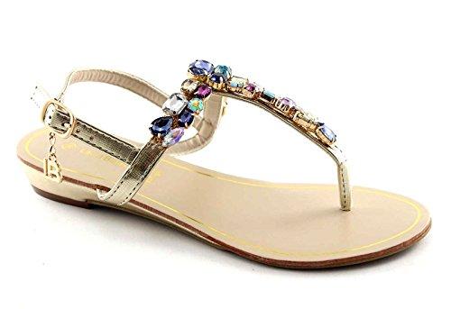 LAURA BIAGIOTTI 866 gold oro sandali donna infradito pietre cinturino 39