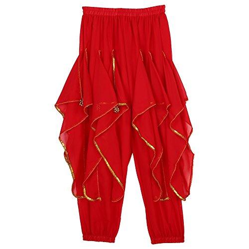 Kostüme Maskottchen Design (Halloween Tanz Kostüm Bauchtanz Hose Arabisch Belly Hose für Weihnachtsfeier ( Farbe : Rot)