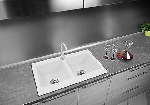 Évier granit 765x 480mm avec siphon Blanc Classique 2Bac 2Chambre Évier