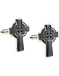 Botones de gemelos Cruz Celta gótico chapado en cromo y esmalte negro, unisex