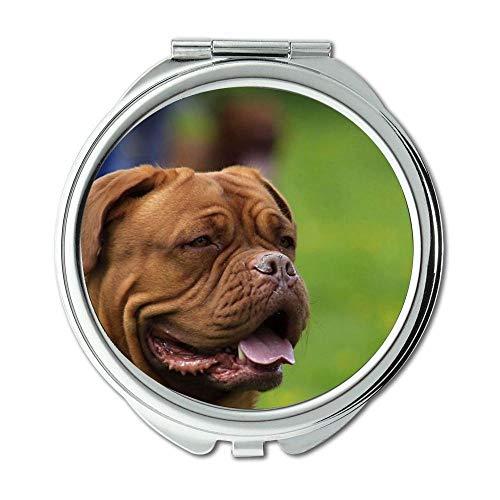 Yanteng Spiegel, Kleiner Spiegel, Mops Hund doga, Taschenspiegel, 1 X 2X Lupe