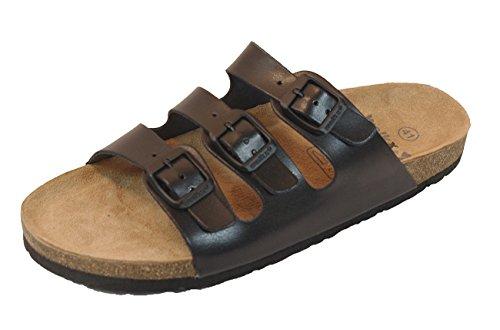Damen Bio Clogs Tieffußbett Pantoletten Sandalen Echtes Leder 3 Schnallen Gr. 37 bis 41 Schwarz (39)