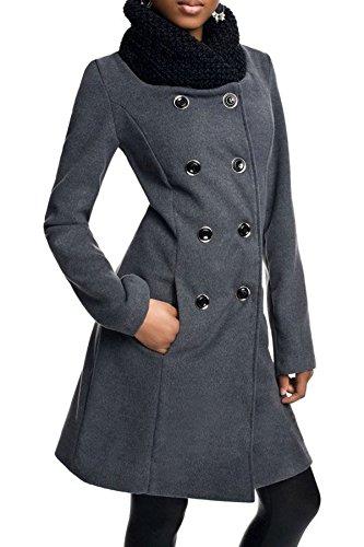 Laeticia Dreams Damen Winter Mantel Jacket Stehkragen XS S M L XL Grau