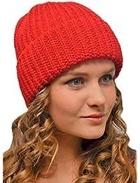 Gorro de Punto Mujer Hombre Rojo - Beanie Invierno Cálido - Gorros de Lana  Esquí Moda f57d73b9e79