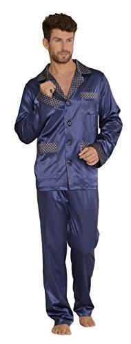 Tolle Satin (FOREX Lingerie edler und hochwertiger Satin-Pyjama Herren-Schlafanzug Hausanzug im tollen Design, marine, Gr. M)