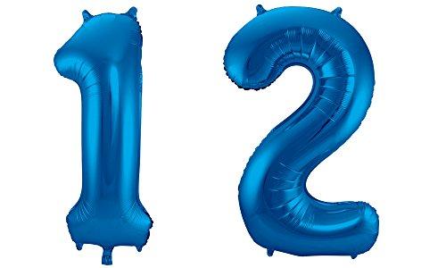 Folat 800747 - Folienballon - Zahl 12 - blau - ca. 86 cm hoch (12 Blau)