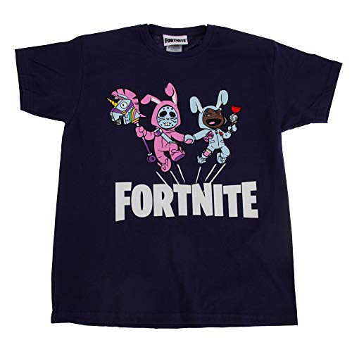 Fortnite Kinder T-Shirt Bunny Trouble, kurzärmlig (128) (Marineblau) -