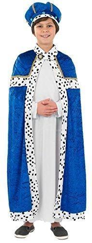 Jungen Blau Weiser Mann Herren 3 Kings Weihnachten Krippe Verkleidung Kostüm Outfit 4-12 jahre - Blau, 8-10 (Weiser Junge Mann Kostüm)