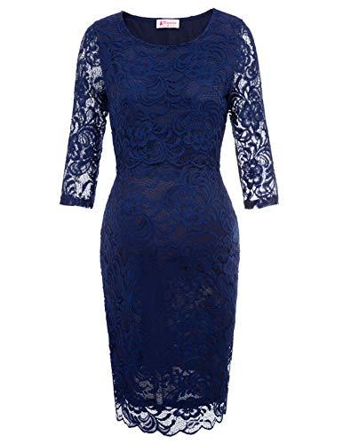 Maacie Schwangere Frauen Rundausschnitt Lace Party Ball Kleid, Marine Blau, XL