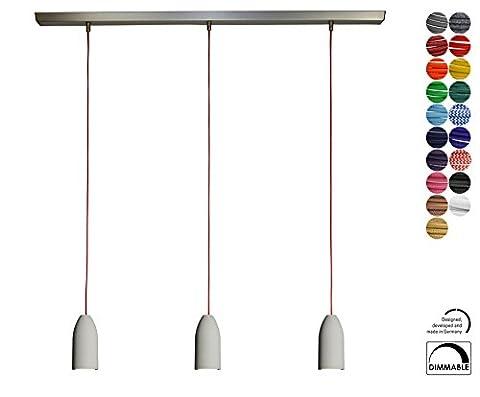 3x Betonlampe (hängend), Textilkabel