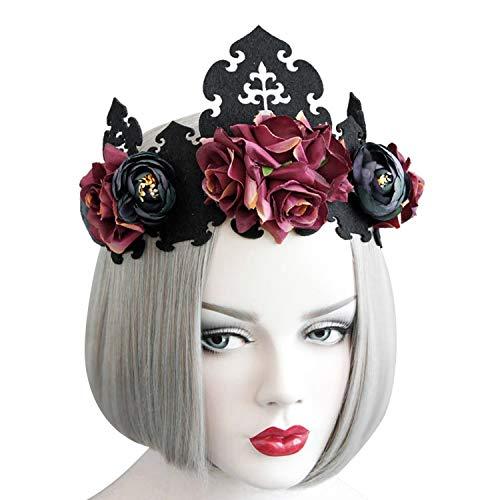 Kopfschmuck Gotisch Haarschmuck Halloween Kostüm Damen Stirnband Blumenkranz Vintage Prinzessin Haarschmuck Masquerade Krone Cosplay Haarreif Einstellbar Girlande Haarkranz (Masquerade Kostüm Für Damen)