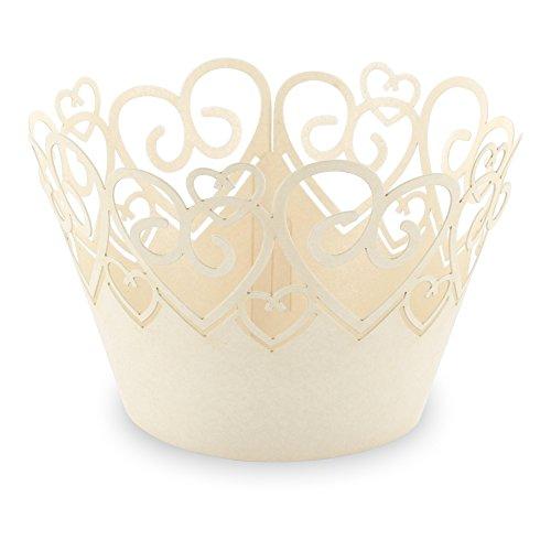 """Elfenstall Cupcake / Muffin Papierförmchen - Zierumrandung - Dekorand """" Herz Liebe Love """" 12 Stück Geburtstage Hochzeiten Kommunion Konfirmation Taufe Ostern Partys oder Feste (creme / ivory)"""