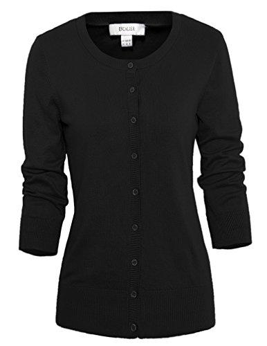 Escalier-Womens-Basic-Round-Neck-34-Sleeve-Knit-Cardigan