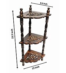 Fancy Designer Home Office Decor Corner brown Wood Organizer Stand