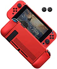 Dockable Case for Nintendo Switch, Protective Cover Case for Nintendo Switch and Joy-Con Controllers (Red)