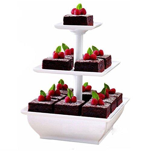 Soporte de 3pisos Taylor & Brown® para tarta de boda, cumpleaños, exposición, de plástico, color blanco