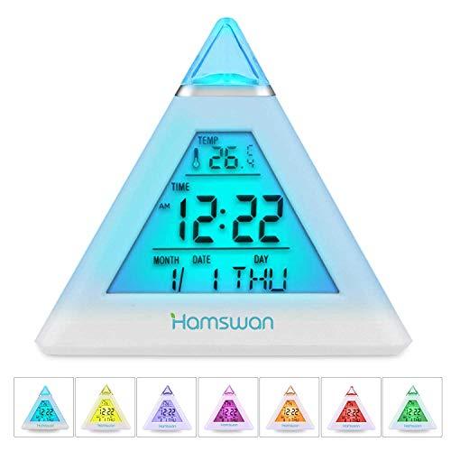 HAMSWAN Réveil Électronique LED, 7 Couleurs Horloge Numérique Alarm Clock Enfant avec Date et Température, 8 Sonneries et Fonction Snooze
