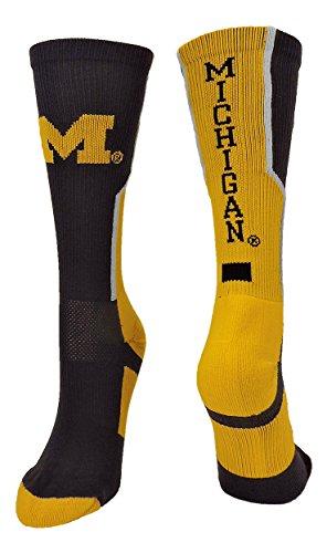 TCK Sports Universität von Michigan Wolverines Perimeter Crew Socken, Jungen Damen Mädchen Herren, Navy/Gold/White, X-Large -