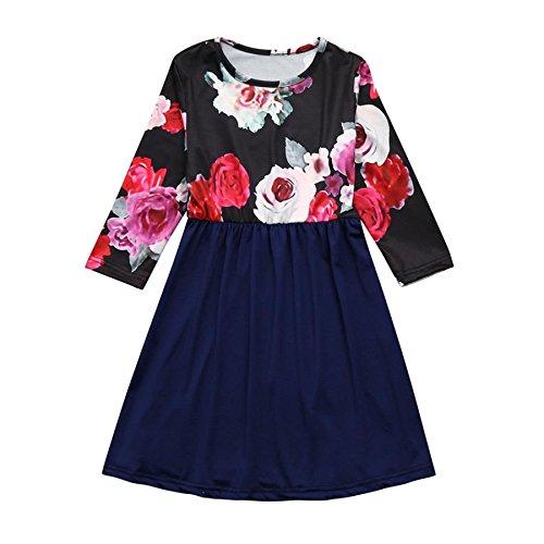 Mutter Tochter Kleid BURFLY Blumendruck Mom Kinder halbe Hülse Maxi lange Kleid Familie Kleidung gesetzt (5-6T, Blau) (Sleeve Floral Thermal Long)