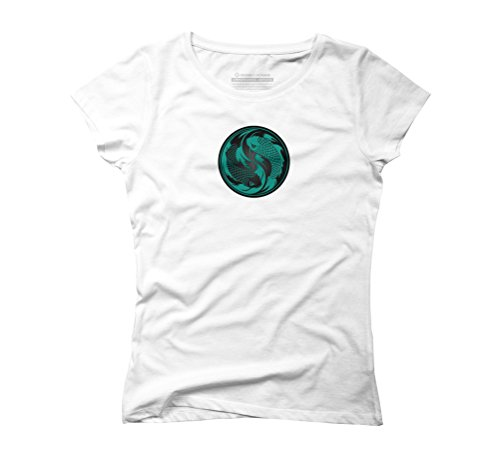Teal Blue and Black Yin Yang Koi Fish Women's Medium White Graphic T-Shirt - Design By Humans (Fish Black Womens)