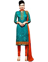 SKYBLUE FASHION Women's Cotton Dress Material (manas147_Free Size_green)