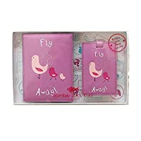 Bombay Duck Pink Fly Away Birds Passport Cover & Luggage Tag