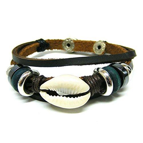 Linus Jade® in vera pelle braccialetto etnico tribale surfer hippie legno plastica Shell