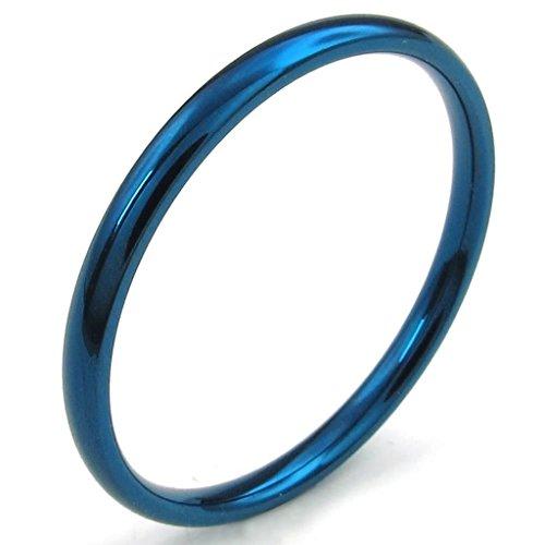 Acciaio Inossidabile Anello Uomo 2Mm Smooth Gloss Blu 30 By Aienid