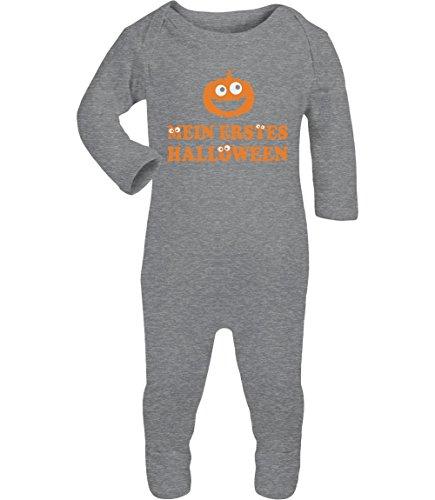 Shirtgeil Mein Erstes Halloween - Süsses Design Kürbiskopf Baby Strampler Strampelanzug 6M Grau