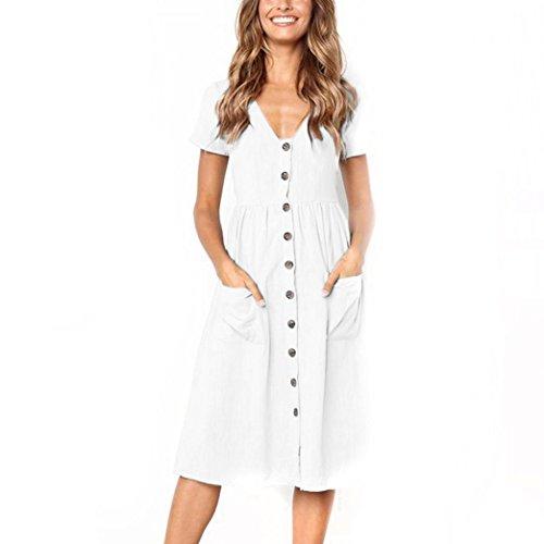 Janly® Sundress, Summer Beach Holiday Dress for Women Plain Buttons Pockets Long Dress White Black Dresses