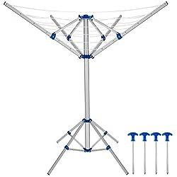 Deuba Séchoir à linge parapluie Etendoir à linge pliable aluminium 4 Bras 4 pieds Pliable Réglable intérieur extérieur