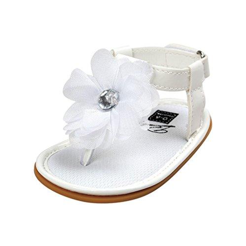 6 Kleidung Größe Mädchen Sommer (Baby Schuhe Auxma Baby Mädchen Blumen Sommer Sandalen Anti-Rutsch-Krippe Schuhe Für 3-18 Monate (7-13 M, Weiß))