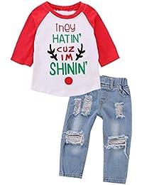 235c6ddf0c Chennie Jungen Mädchen Raglan Ärmel Buchstaben T Tops zerrissene Jeans Hose  Kleidung Set