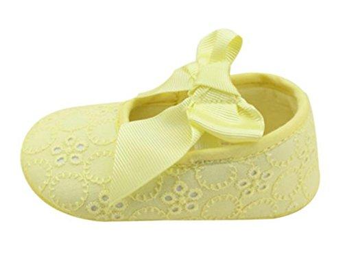 Webla Säuglingsmädchen Baumwollband Bowknot Weiche Unterseite Blume Prewalker Gelb