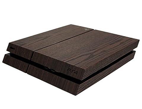 Aufkleber für PS4 3D Strukturfolie Holz dunkel braun matt mit sichtbarer und fühlbarer Holzstruktur, Sony Playstation 4 Aufkleber, Sticker, Simple-Sticker Designaufkleber für PS4