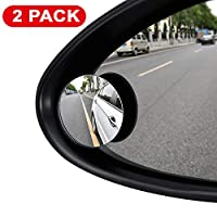 ILYPLUS Blind Spot Mirror, 360°Rotatable Waterproof Convex Rear View Mirror Adjustable Wing Mirror BlindSpot Side Mirrors for Car, SUV, Truck - 2 Pack
