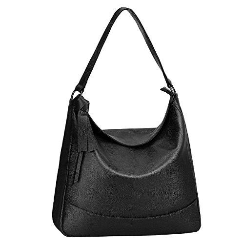 S-ZONE Damen Echtes Leder Handtasche Hobo Bag Medium Tote Schultertasche Umhängetasche (Um Hobo)