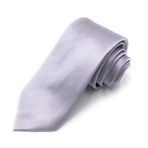 JillyMode Herren Elegante Herren Krawatte 100% handmade K01-02 (K01-Uni-Silber)